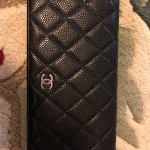 Authentic Chanel Black Caviar Silver CC wallet